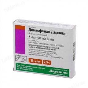Диклофенак р-р д/ин. 2,5% амп. 3 мл №5